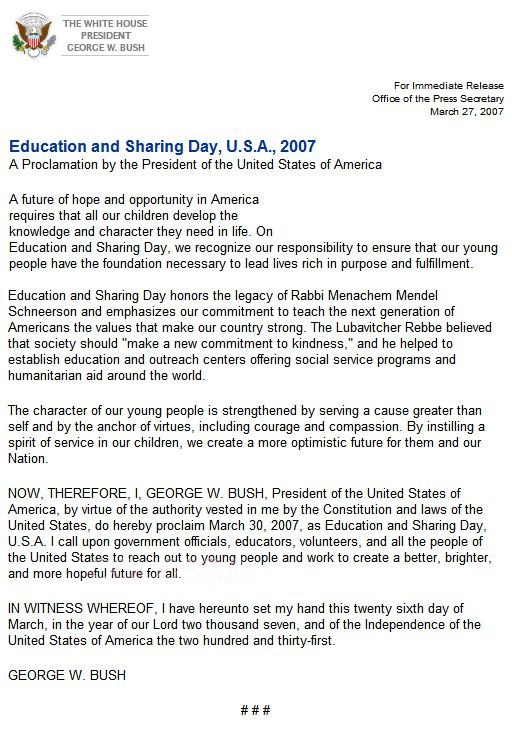 Education and Sharing Day Declaration original text